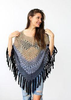 15 Fun, Fabulous FREE Fringed Crochet Patterns: Ombre Poncho Free Crochet Pattern with Fringe