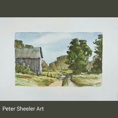 """Rural landscape. 5""""x7"""" #art #artist #original #watercolor #watercolour #miniature #painting #aceo #ebay #paintingaday #ink #pen #waterbrush #winsornewtonmarker #farm #barn #shed #country #countryside #rural   by sheelerart"""