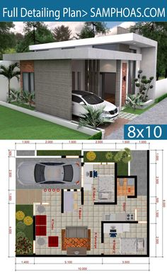 Sketchup House Modeling Idea From Photo - SamPhoas Plan, House Wall Design, Simple House Design, Minimalist House Design, Modern House Design, Small House Floor Plans, My House Plans, Modern House Plans, Modern Bungalow House, Bungalow House Plans