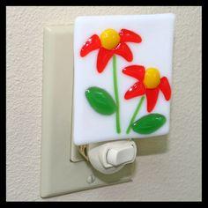 Glassworks Northwest - Orange Wildflowers Night Light - Fused Glass Art. $27.00, via Etsy.
