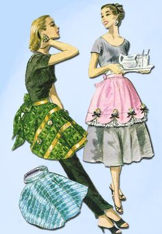 1950s Vintage McCall Sewing Pattern 2052 Misses Cocktail or Party Apron Fits All