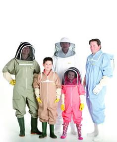 BB Wear - Bee Suits come in many different colors. The standard is white, but pale color hues are safe as well. The one threatening color to avoid wearing around bees is black. Bee Suits, Bee Safe, Honey Bees, Beekeeping, Queen Bees, Things To Think About, Insects, Rain Jacket, Bb