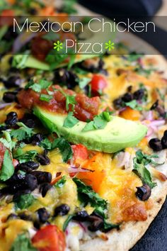 Mexican Chicken Pizza // use a tortilla, super fast & easy to customize #veggielove #fastfood