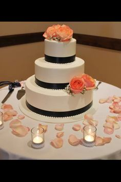 Coral and navy cake