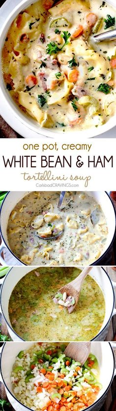ONE POT hearty, cozy, Creamy White Bean and Ham Tortellini Soup simmered with onions, carrots, celery and seasonings is SO easy and lick your bowl delicious! love the addition of cheesy tortellini! Chili Recipes, Soup Recipes, Dinner Recipes, Cooker Recipes, Crockpot Recipes, White Beans And Ham, Ham And Bean Soup, Soup Beans, Soup And Sandwich