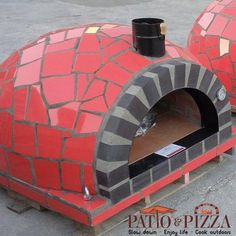 Red Outdoor Pizza Oven with Mosaic Tile