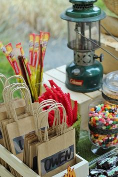 Bash Party Styling *'s Birthday / Boys Backyard Campout Party - Photo Gallery at Catch My Party Backyard Camping Parties, Backyard Birthday, Camping Theme, Camping Stuff, Backyard Ideas, Camping Party Favors, Camping Lunches, Camping Ideas, 10th Birthday Parties