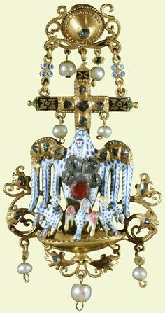 A Spanish late-seventeenth-/early-eighteenth-century gold, enamel, diamond, ruby, pearl pendant with a pelican in her piety, a symbol of Christ's self-sacrifice. (Royal Collection)