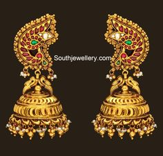 Indian Jewellery Designs - Page 7 of 1784 - Latest Indian Jewellery Designs 2020 ~ 22 Carat Gold Jewellery one gram gold Gold Jhumka Earrings, Gold Earrings Designs, Antique Earrings, Antique Jewellery, Peacock Earrings, Gold Necklace, Gold Designs, Indian Earrings, Diamond Earrings