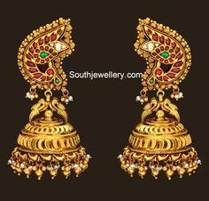 Peacock antique gold jhumkas #Beautiful#Wedding