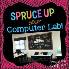 Classroom decor ideas to spruce up your computer lab with chalkboard decor. See how to not only brighten up and organize your lab, but also help it run more smoothly with these classroom management ideas and bulletin boards. Computer Classroom Decor, Computer Lab Decor, Computer Teacher, Computer Lessons, Classroom Design, Computer Science, Classroom Ideas, Teaching Computers, School Computers