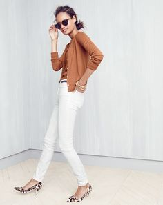 J.Crew women's lightweight Jackie cardigan, lightweight Jackie sweater shell, lookout high-rise Cone Denim® jean in white, Super™ tortoise sunglasses, skinny leather belt, hinge bracelet, rounded chain bracelet and Collection Colette calf hair d'Orsay kitten heels.