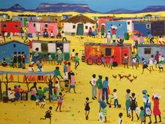 Purchase artwork Market Day - Acrylic Painting by South African Artist Katharine Ambrose