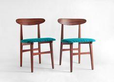 Mid Century Teak Wood Chairs  Modern Dining Danish by Hindsvik. I like the upholstery.