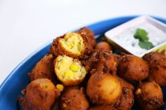 the chew | Recipe  | Michael Symon's Corn Fritters     Corn Fritters Recipe: This traditional Southern snack is kicked up a notch with the addition of a refreshing cilantro-lime dipping sauce.