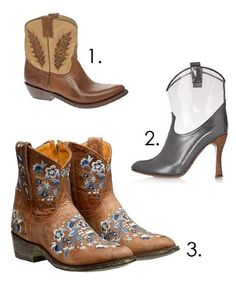 1. Detox brown boots, £239, Ash;   2. Rubber and metallic boots, £575, Marc Jacobs at Net-a-porter;   3. Sora hand-embroidered leather boots, £485, Mexicana at Browns