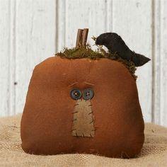 Very Primitive Grungy` Pumpkin Jack-O-Lantern with Black Crow`Shelf Sitter` #NaivePrimitive