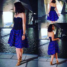 Robe pour femme Robe bustier Wax bleu évasée et asymétrique