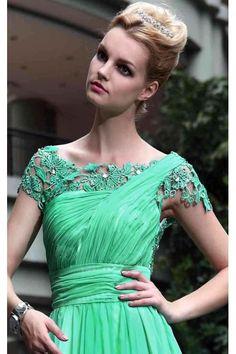 green cap sleeve cocktail dress « Bella Forte Glass Studio