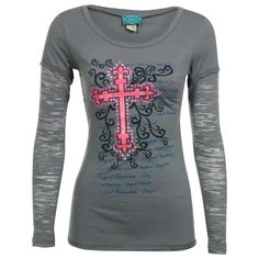 Cowgirl Hardware Women's Long Sleeve Burn-Out Graphic Print T-Shirt What would be better is if the cross were turquoise! That would be me and Mr. Bean's colors!