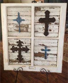 Rustic Cross Home Decor piece using an old window frame.