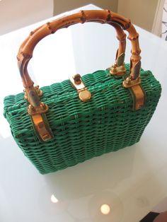 Vintage Kelly Green Basket Purse by MemphisNanney on Etsy, $30.00