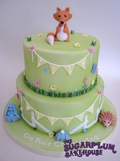 2 Tier Woodland Creature / Meadow Joint Christening Cake - Cake by Sam Harrison Fox, Hedgehog, Rabbit, Bunny
