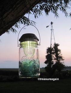 Solar Mason Jar Light,  Blue Broken Mason Jar Glass in Antique Wide mouth Jar with 4x's brighter Wide mouth Mason Jar Solar Light Lid by treasureagain  http://etsy.me/1hHW3Kt