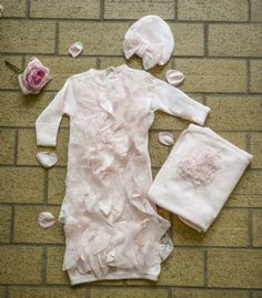 Pink Ruffles & Lace Infant Gown, Hat, & Blanket Set Now in Stock