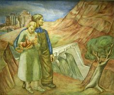 """One of the frescoes in the """"Epochs in the History of Man"""" series by Edgar Britton executed in 1936-37 in the school lunchroom of what is  now the Lane Tech College Prep High School at 2501 West Addison Street on the Northwest Side of Chicago, Illinois.  The fresco project was sponsored by the Federal Art Project which was part of the Works Progress Administration (WPA) designed to provide work for unemployed Americans during the great depression.  Tenuous Link:  Herbert Hoover ---> The Great…"""