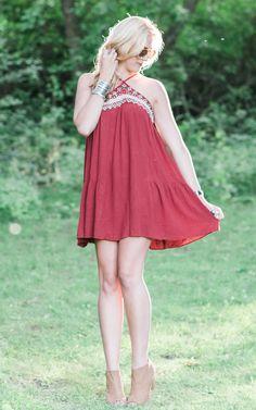 Burgundy criss-cross dress