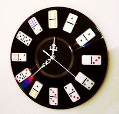 Domino Wall Clock Game Room Decor Home and Living by Shannybeebo, $30.00