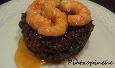 Pintxopinche. La cocina sin gluten: ARROZ NEGRO CON CALAMAR Y LANGOSTINOS AL AJILLO ESTILO MÁLAGA