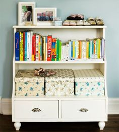 Unconventional Storage - Don't dismiss an unusual storage unit as unusable. This part bookcase, part dresser is a perfect addition to any bedroom for storing books on the upper shelf and pretty boxes on the deeper lower shelf. Discover more kids room decorating and organizing tips and ideas @ http://kidsroomdecorating.net