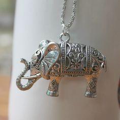 Silver Elephant Necklace | Elephants: Jewelry (pendants) | Pinterest