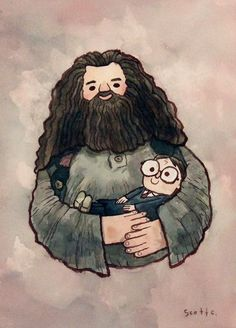 """""""Big Fellow Holding Little Fellow"""" - Hagrid and Harry Potter print by Scott Campbell Harry Potter Fan Art, Harry Potter Nursery, Harry Potter World, James Potter, Scott Campbell, Illustrations, Illustration Art, Desenhos Harry Potter, Arte Disney"""