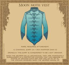 👘🦋- The rare and fabled Moon Moths are found in a remote corner of the world. The blue silk is soft on the skin and… Dnd Dragons, Dungeons And Dragons 5e, Dungeons And Dragons Homebrew, Dark Fantasy, Fantasy Armor, Fantasy Weapons, Magic Armor, Arte Peculiar, Moon Moth