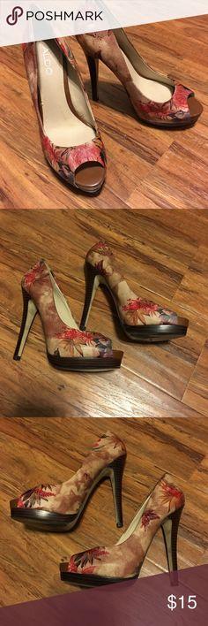 Aldo peep-toe platform stilettos Gorgeous Asian-inspired floral/butterfly print peep-toe platform stilettos. Barely worn! Aldo Shoes Heels