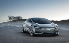 Descargar fondos de pantalla Audi Aicon Concepto de 2017, vista de frente, plata Audi, el diseño del futuro, nuevos coches, Audi