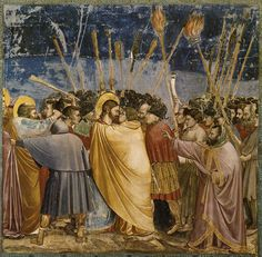 Giotto - Cappella degli Scrovegni - Padova - Passione di Cristo - 3 - Bacio di Giuda, il Tradimento - affresco - 1305 circa