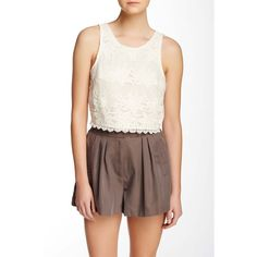 ASTR Embroidered Crochet Lace Crop Top ($25) ❤ liked on Polyvore featuring tops, blouses, cream, sleeveless blouse, crop blouse, cream blouse, scoop neck blouse and crochet lace crop top