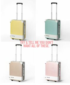 Pantone suitcases - found on SF Girl by Bay blog - only available in Japan....tell me you dont want one of these.