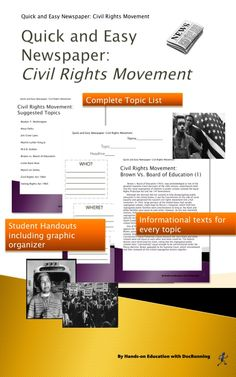 """Students jump into the civil rights movement as they """"get the scoop"""" on major events. Students become reporters and find out about Selma, Brown v. Board of Education and more.  Ready to use - all informational texts and student handouts included."""