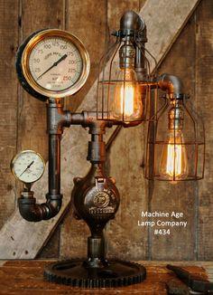 Steampunk Industrial, Steam Gauge Lamp, #434