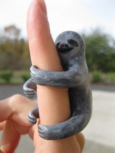 Items similar to sloth polymer clay painted animal figurine on Etsy Polymer Clay Painting, Handmade Stuffed Animals, Animal Projects, Clay Creations, Animal Paintings, Sculpting, Hand Painted, Sloths, Clay Ideas