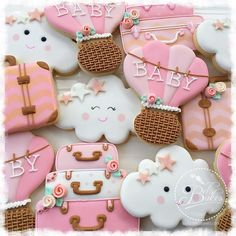 Pink Hot Air Balloons, Clouds &Luggage Cookies