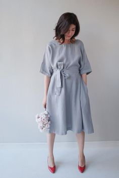 Oversized Linen Dress w Pockets — Light French Blue