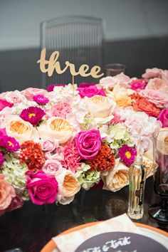 bright wedding flower centerpiece