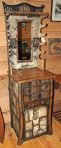 adirondack furniture by Ralph Kylloe Twig Furniture, Corner Furniture, Backyard Furniture, Cabin Furniture, Selling Furniture, Adirondack Decor, Adirondack Furniture, Rustic Design, Rustic Style