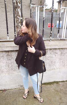 Primark jeans, Topshop Blazer, New Look button detail cami, H&M strappy sandals, Black Chloe Nile Handbag Show Photos, Strappy Sandals, Miu Miu, New Look, Fendi, Chloe, Topshop, Blazer